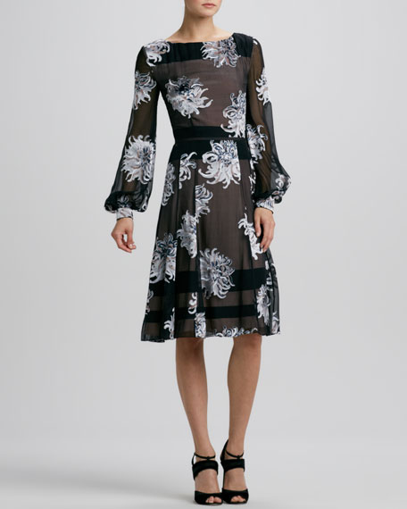 Long-Sleeve Dahlia Devore Dress