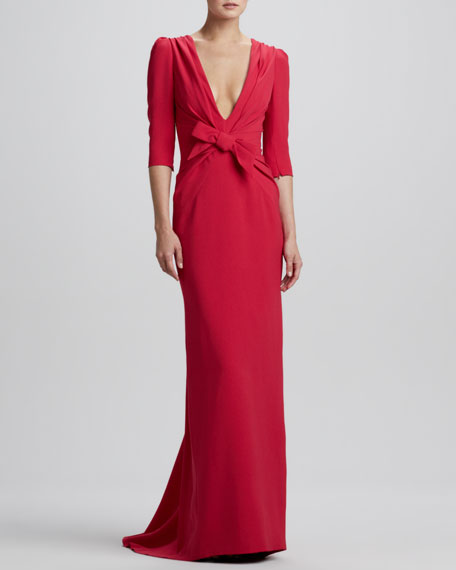 Elbow-Sleeve Plunging-V Gown, Bright Ruby