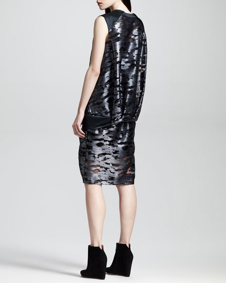 Cocoon-Back Metallic Muscle Dress, Geyser
