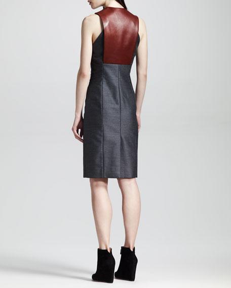 Sleeveless Leather-Bib Dress