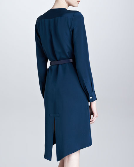 Belted Silk Asymmetric-Hem Shirtdress, Teal