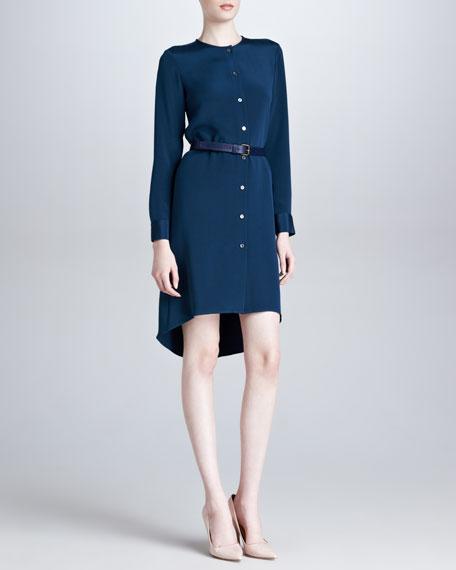 Belted Silk Asymmetric-Hem Shirtdress, Teal