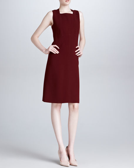 Sleeveless Square-Neck Dress, Bordeaux