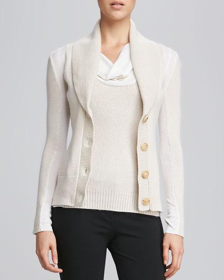 Shawl-Collar Cashmere Cardigan, Muslin/Ivory