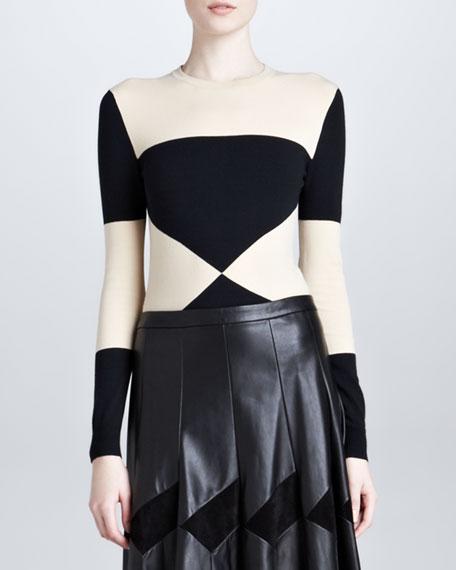 Bicolor Crewneck Sweater, Black/Ecru