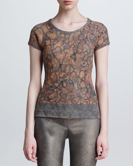 Leopard-Print Cap-Sleeve Shell