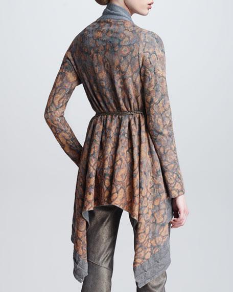 Leopard-Print Draped Cardigan