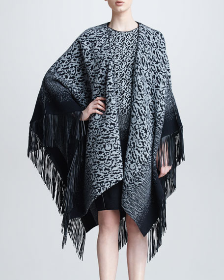 Leopard Knit Fringe Cape