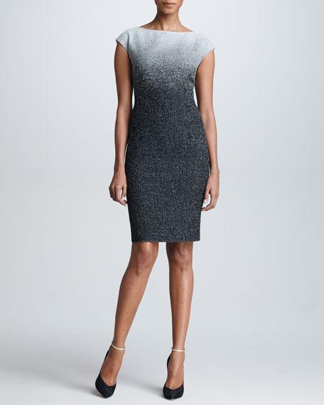 Snowy Tweed Cap-Sleeve Dress, Gray/Black