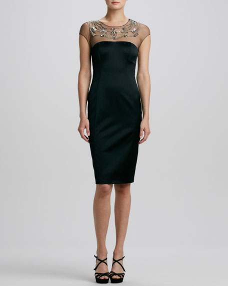 Sateen Embroidered-Neck Sheath Dress
