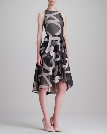 Ribbon-Embroidered Halter Dress, Gray/Blush