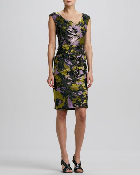 Cap-Sleeve Wrapped Brocade Dress