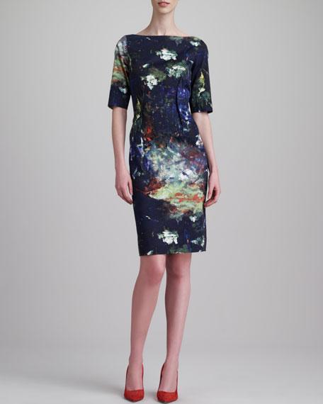 Brushstroke-Print Boat-Neck Dress, Juniper/Multi