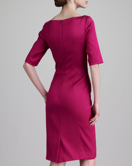 Stretch Satin Twill Dress, Fuchsia