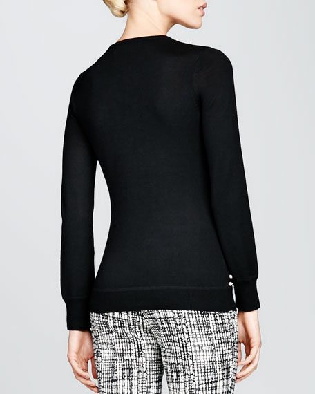 Pearly-Embroidered Sweater