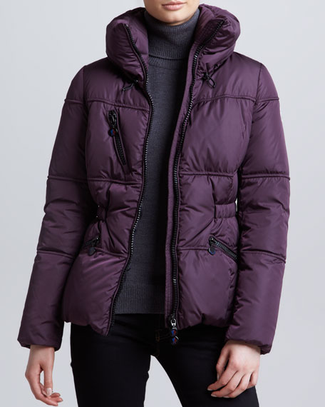 Hip-Length Puffer Jacket, Plum