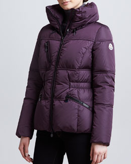 Moncler Hip-Length Puffer Jacket, Plum