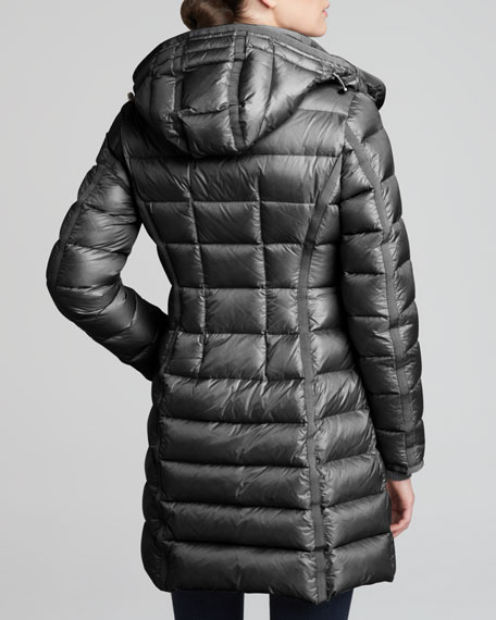 Hooded Long Puffer Coat, Charcoal