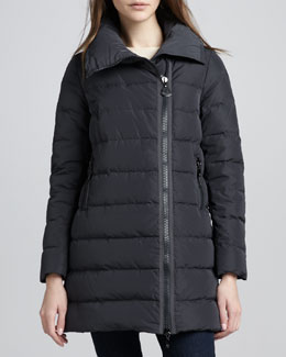 Moncler Mid-Length Asymmetric-Zip Puffer Coat, Black