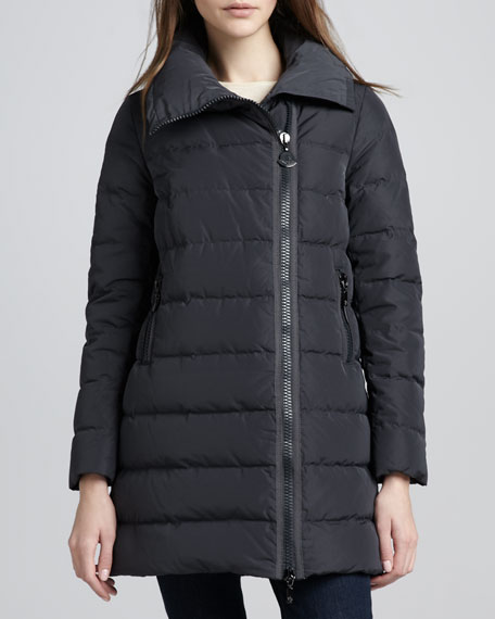 Mid-Length Asymmetric-Zip Puffer Coat, Black