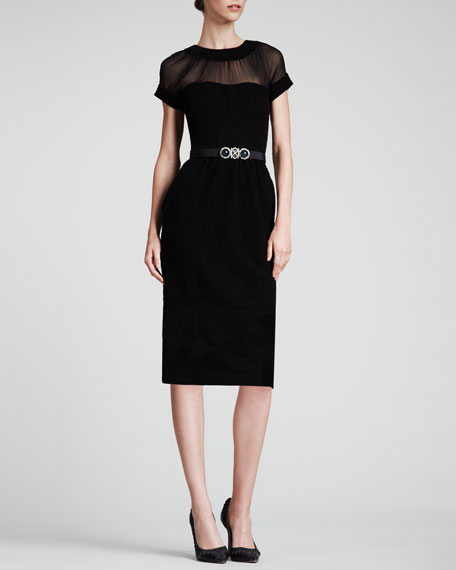 Jewel-Neck Sweetheart Dress, Black