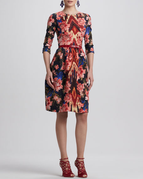 Full Floral-Print Ikat Dress, Navy