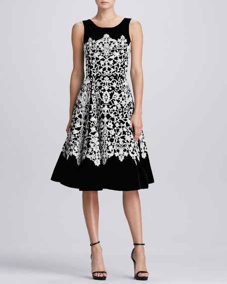 Jewel-Neck Guipure Lace Dress, Black/Ivory
