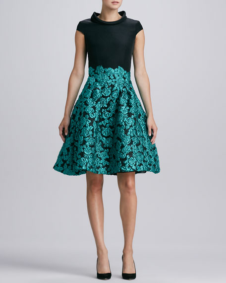 Floral-Embroidered Cap-Sleeve Dress, Black/Teal