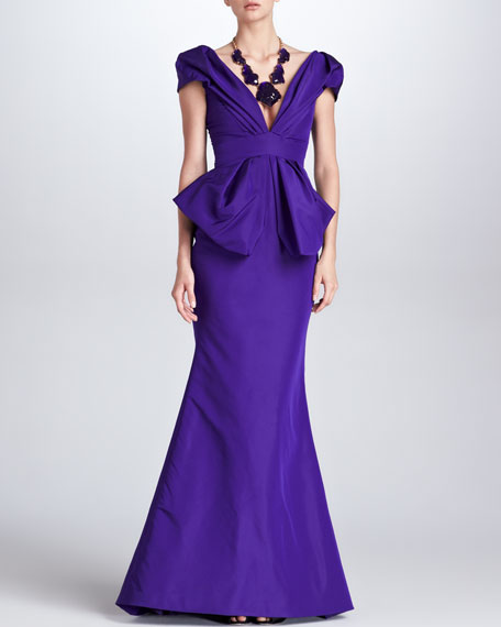 Deep V-Neck Silk Faille Gown, Mulberry