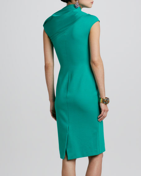 Cap-Sleeve Asymmetric-Neck Dress