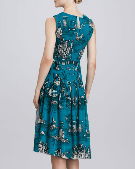 Toile Silk Dress, Teal