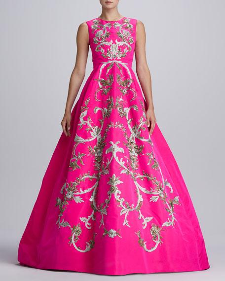 Baroque Embroidered Silk Gown, Shocking Pink