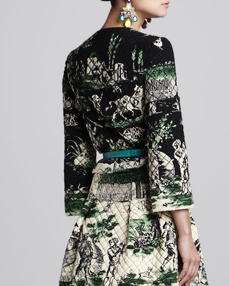 Quilted Beaded Jacket, Black/Green