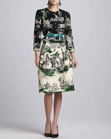 Quilted Full Skirt, Ivory/Green