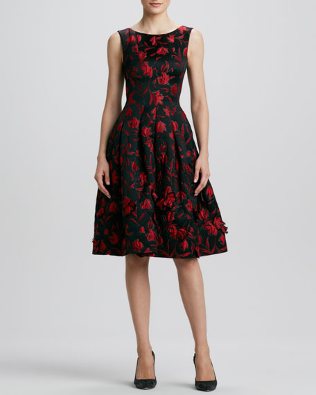 Floral-Embroidered Full-Skirt Dress, Black/Red