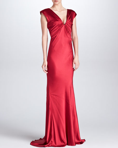 Ruched Satin V-Neck Gown, Ruby