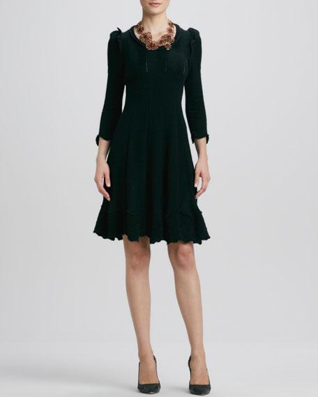 Puffed-Shoulder Knit Dress, Black