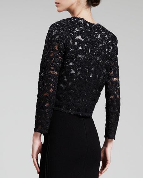 Ruched-Waist Lace Jacket, Black