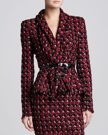 Tweed Shawl-Collar Jacket, Ruby