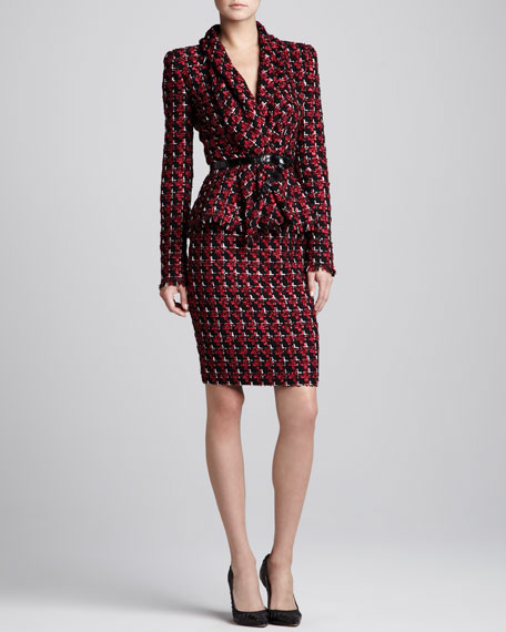 Tweed Pencil Skirt, Ruby