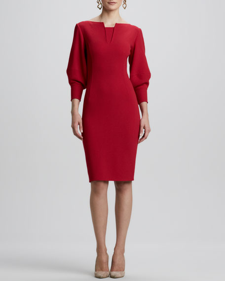 Fitted Puff-Sleeve Dress, Ruby