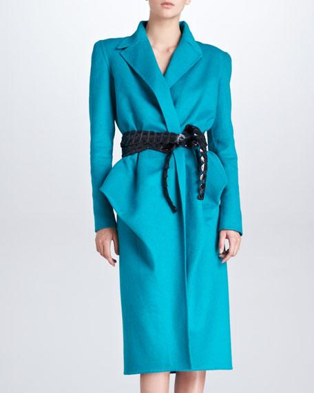 Bustled Orylag-Blend Coat, Teal
