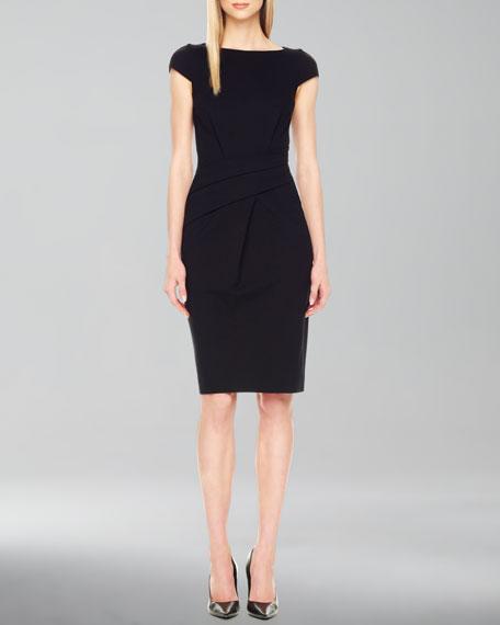 Draped Cap-Sleeve Dress