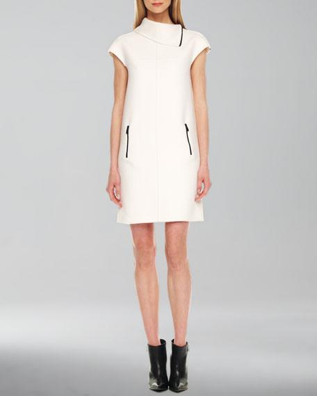 Contrast-Zipper Shift Dress