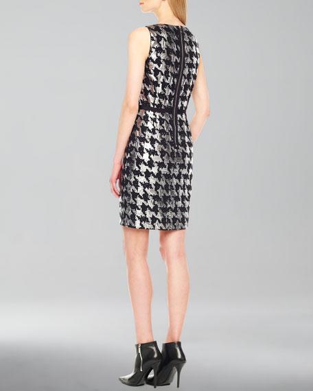 Metallic Houndstooth Jacquard Dress