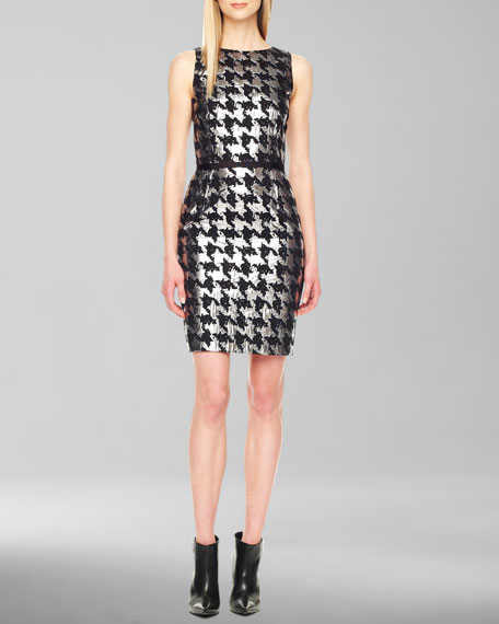 Metallic Houndstooth Jacquard Dress