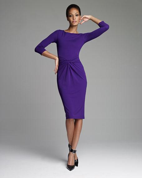 Twist-Front Jersey Dress