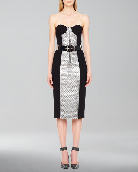 Lame-Panel Strapless Dress