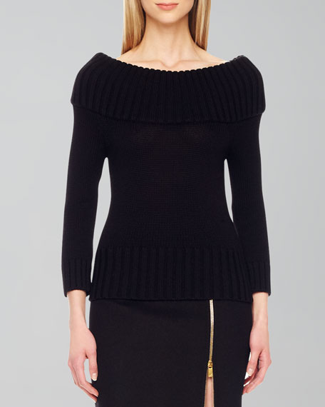 Rib-Trim Wool Sweater