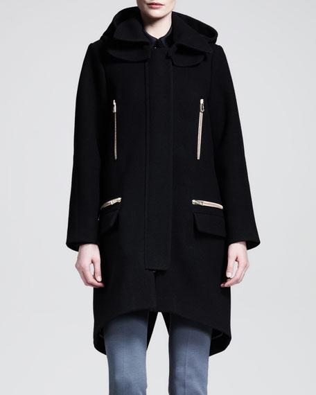 Hooded Golden-Zipper Wool Coat